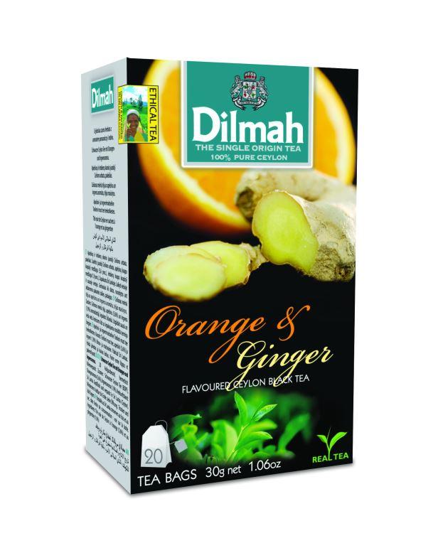 Dilmah Orange & Ginger narancs aromás fekete tea aromazáró dobozban 20*1,5g