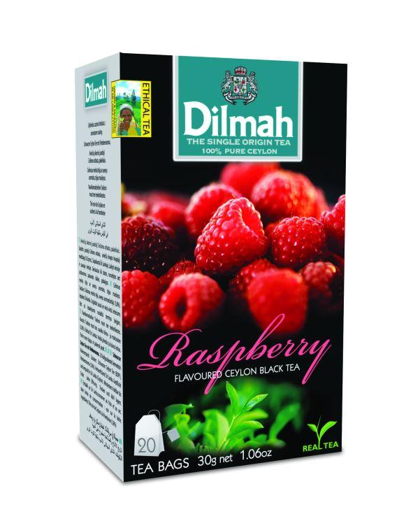 Dilmah Raspberry málna aromás fekete tea aromazáró dobozban 20*1,5g