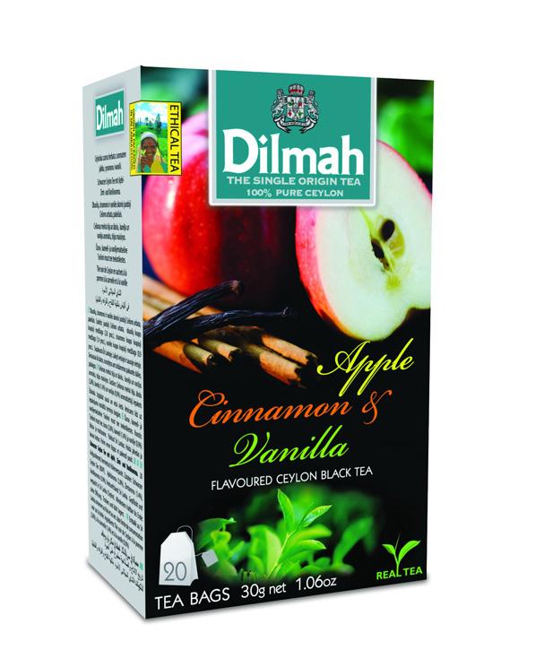 Dilmah Apple & Cinnamon aromás fekete tea aromazáró dobozban 20*1,5g