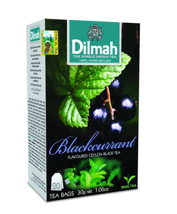 Dilmah Blackcurrant/Feketeribizli aromás fekete tea aromazáró dobozban 20*1,5g