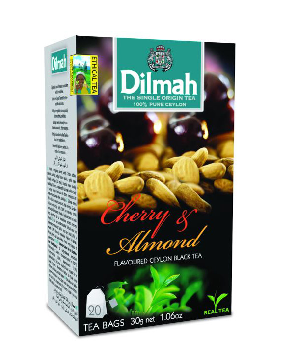 Dilmah Cherry & Almond aromás fekete tea aromazáró dobozban 20*1,5g
