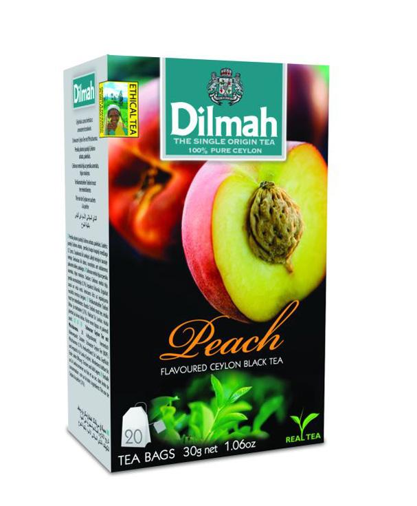 Dilmah Peach/Barack aromás fekete tea aromazáró dobozban 20*1,5g
