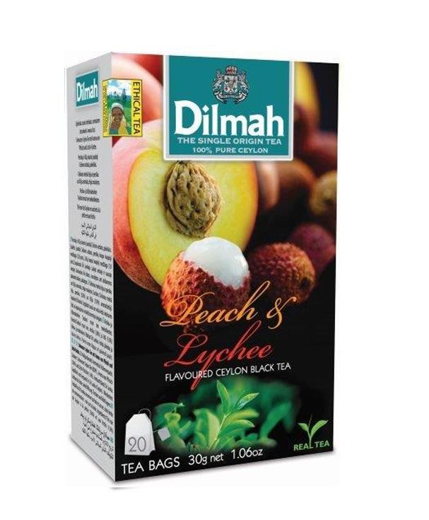 Dilmah Peach & Lychee/Barack & Lychee aromás fekete tea aromazáró dobozban 20*1,5g