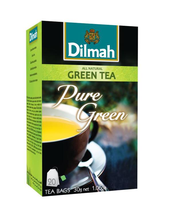Dilmah Pure Green Tea natúr zöldtea aromazáró dobozban 20*1,5g