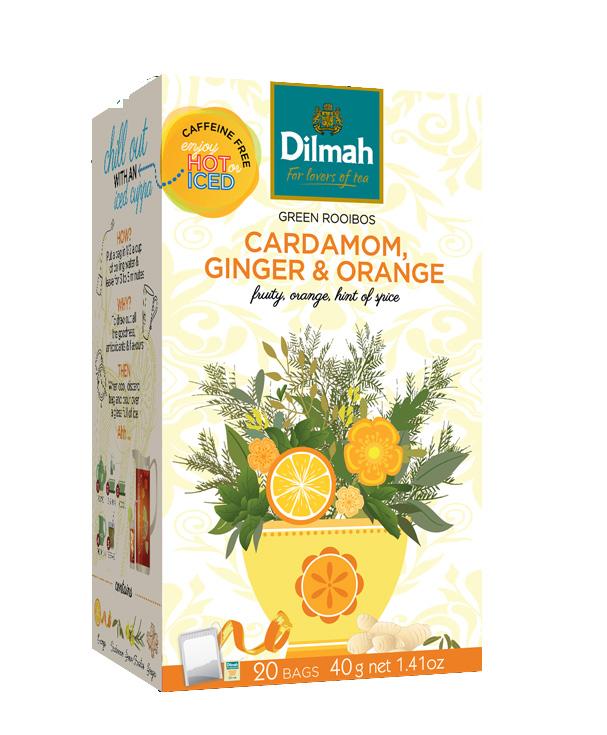 Dilmah Green Rooibos Cardamom, Ginger & Orange – Zöld rooibos, kardamom, gyömbér – narancs főzet 20x2g