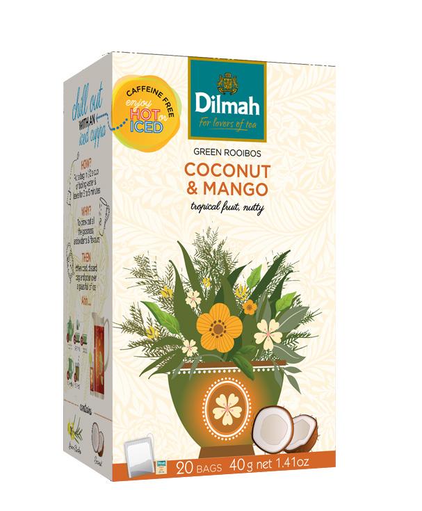 Dilmah Green Rooibos Coconut & Mango –Zöld rooibos, kókusz – mangó főzet 20x2g