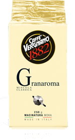 Caffe Vergnano Gran Aroma vákuumcsomagolt őrölt kávé 250g (ajánlott kotyogós kávéfőzőhöz)