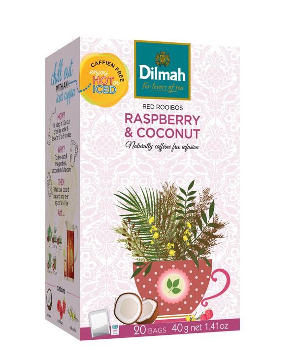 Dilmah Raspberry & Coconut – Vörös rooibos, málna – kókusz főzet 20x2g