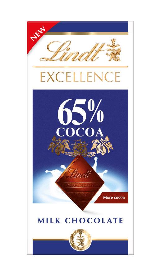 Lindt Excellence Milk 65% Cocoa tejcsokoládé 80g